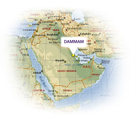 Map of Dammam, Saudi Arabia