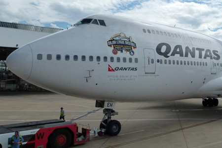 QANTAS 747-400 VH-OEH (07-Major League Baseball)(Nose)(QANTAS)(LRW)