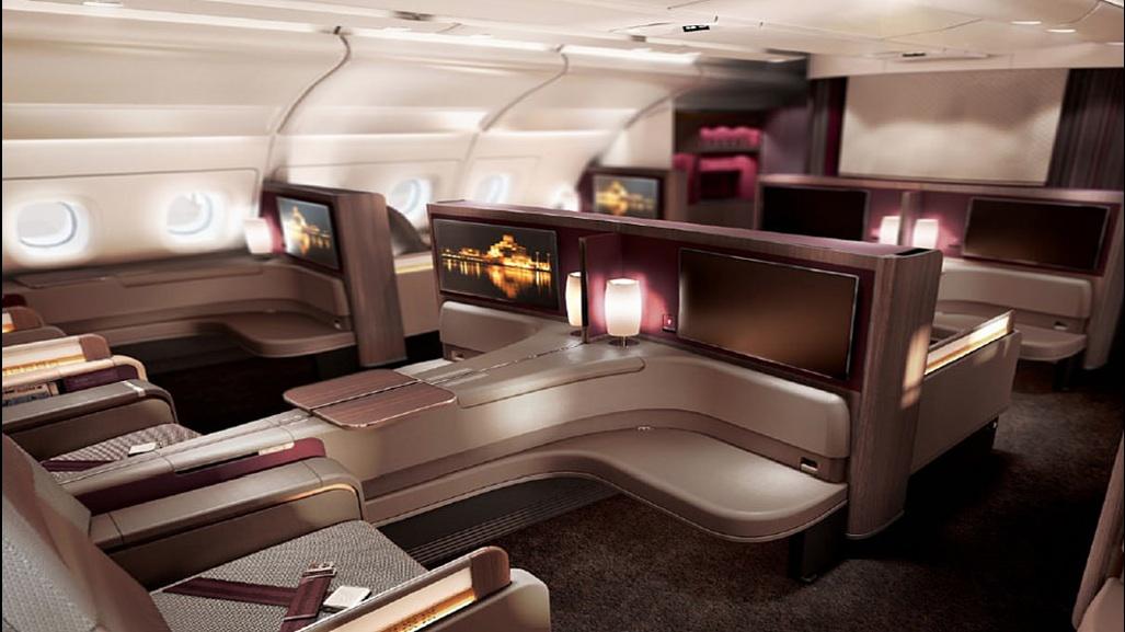 Qatar airways showcases its first airbus a380 world for Interieur 777