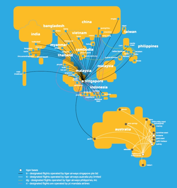 Tigerair 3.2014 Route Map