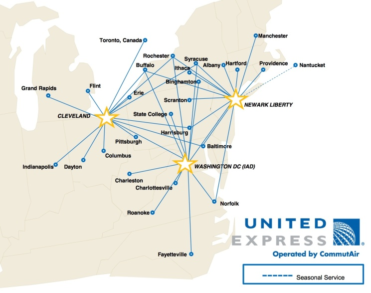 United Express-CommutAir 3.2014 Route Map