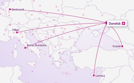 Wizz Air (Ukraine) Donetsk 3.2014 Route Map