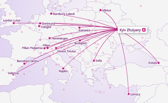 Wizz Air (Ukraine) Kiev 3.2014 Route Map