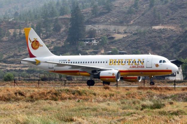 Bhutan A319-100 A5-BAB (14)(Grd) Paro (Bhutan)(LR)