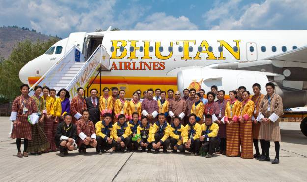 Bhutan A319-100 A5-BAB and staff (Bhutan)(HR)
