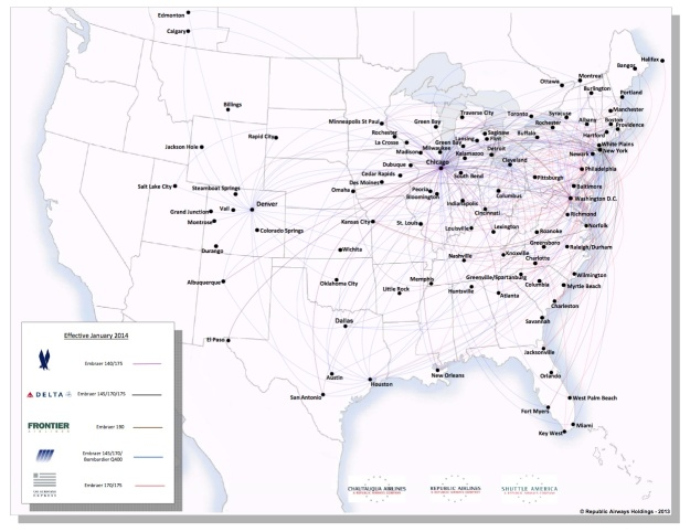 Chautauqua-Republic-Shuttle America 4.2014 Route Map