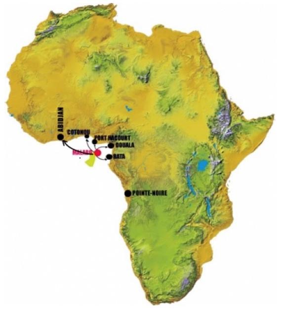 Cronus Airlines (Equatorial Guinea) 4.2014 Route Map
