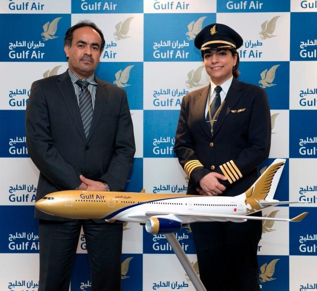 Gulf Air's First Female Bahraini Captain Yasmeen Fraidoon (Gulf Air)(LR)