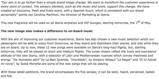 Iberia Scent wording