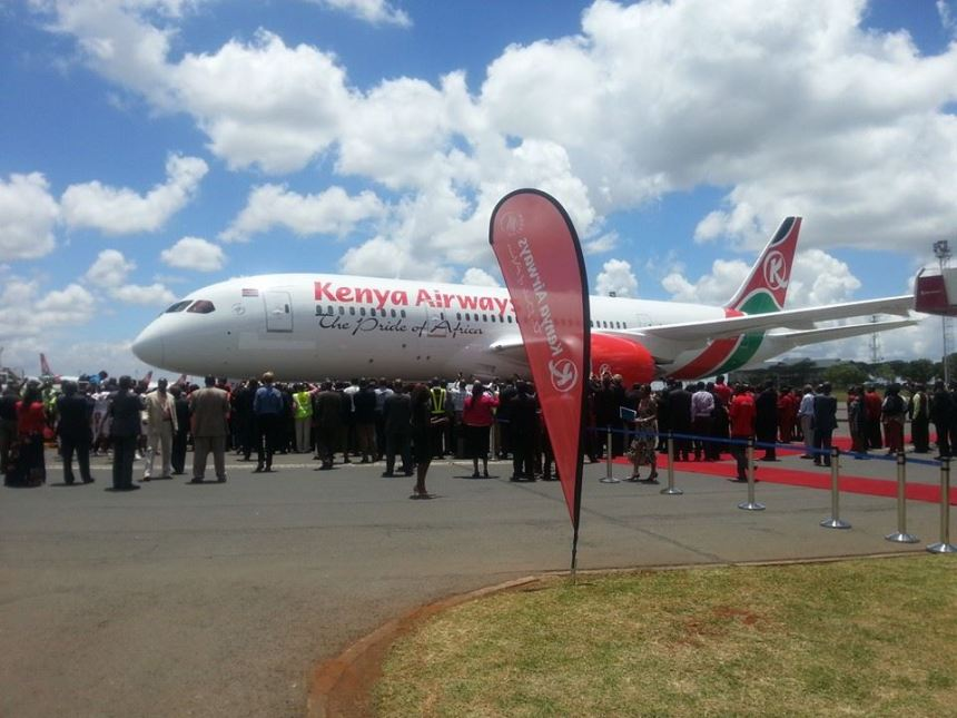 Kenya Airways 787-8 5Y-KZA arrives in Nairobi on 4.5.14 (Kenya)(LR)