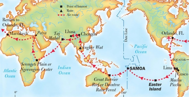 National Geographic 2014 Thomson charter route map