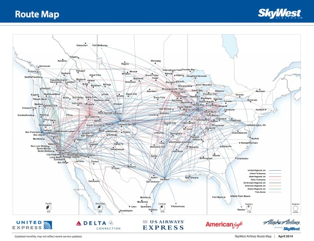 SkyWest 4.2014 Route Map
