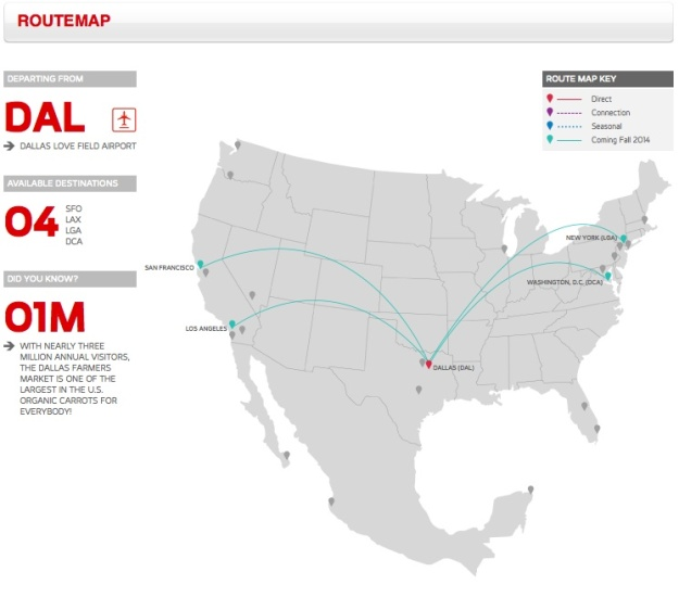 Virgin America DAL 4.2014 Route Map