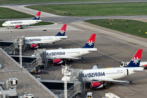 Air Serbia Airbus fleet at Belgrade hub (Air Serbia)(LRW)