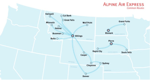 Alpine Air Express 5.2014 Route Map