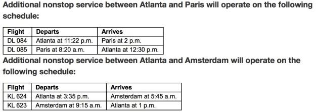 Delta CDG AMS Schedule