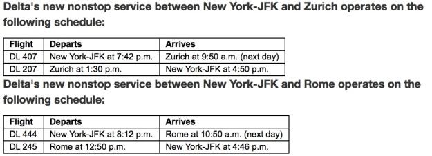 Delta ZRH FCO Schedule