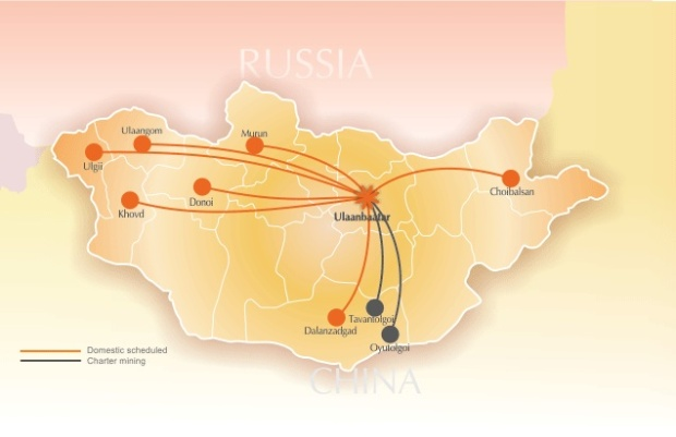 Eznis Airways 5.2014 Route Map