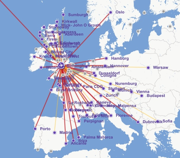 Flybe 5.2014 BHX Route Map