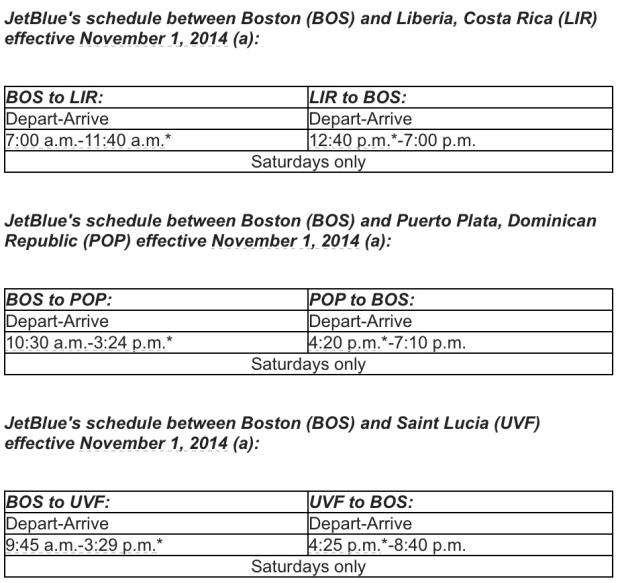 JetBlue BOS-Liberia Schedule