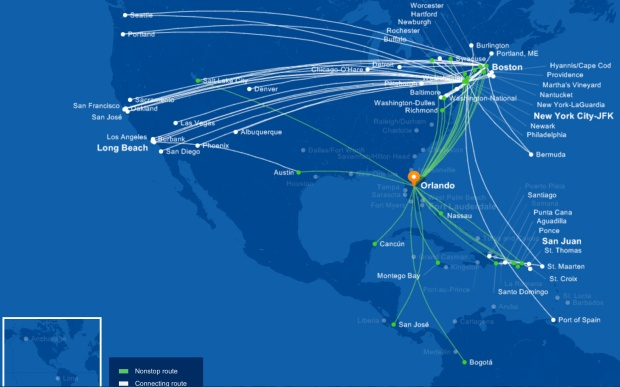JetBlue MCO 5.2014 Route Map