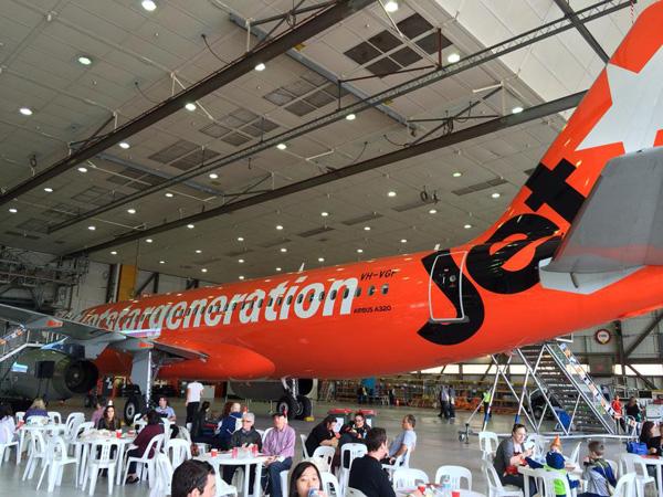 Jetstar A320-200 VH-VGF (14-#jetstargeneration)(Ceremony) MEL (Jetstar)(LR)