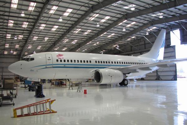 KaiserAir 737-700 N737KA in hangar (KaiserAir)(LRW)