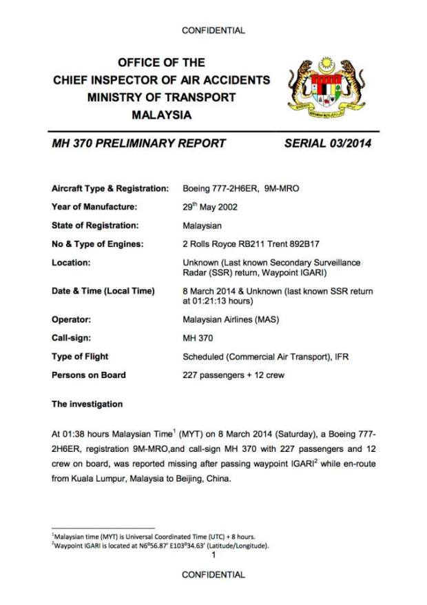 MH 370 Report pg 1