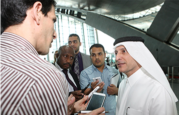 Qatar Al Baker with media (Qatar)(LR)