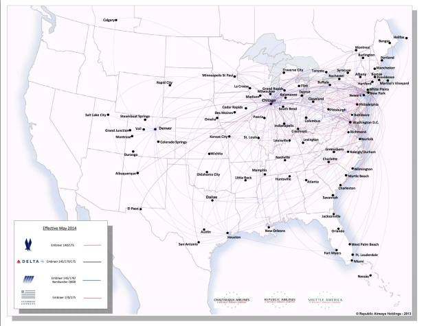 Republic Airways Holdings 5.2014 Route Map