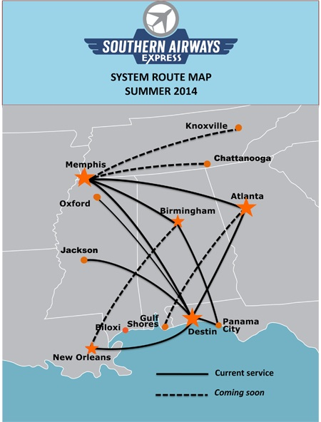 Southern Airways Express 5.2014 Route Map