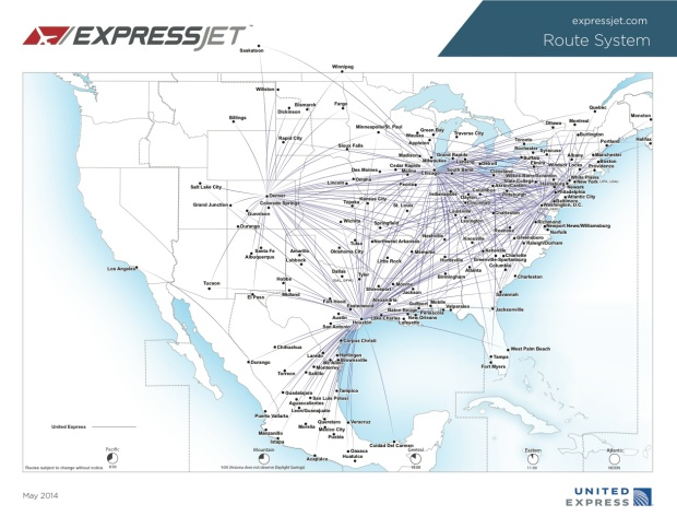 United Express-ExpressJet 5.2014 Route Map