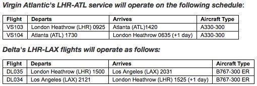 Virgin Atlantic-Delta ATL LAX schedule