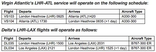 Virgin Atlantic-Delta ATL LAX schedule