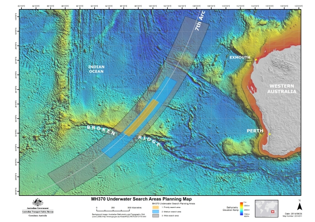 ATSB 6.26.14 Search Map for MH 370