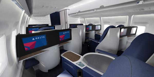 Delta 757-200 trans-con BusinessElite cabin (Delta)(LRW)