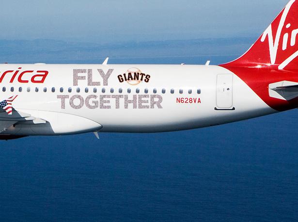 Virgin America A320-200 N628VA Fly Together Giants (Virgin America)(LR)