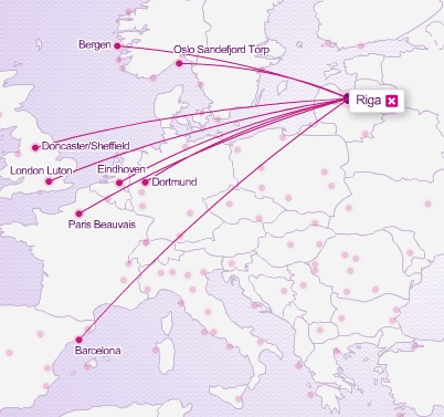Wizz Air 6.2014 Riga Route Map