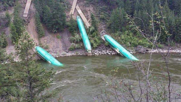 Boeing 737 fuselages in river
