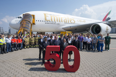 Emirates 50th A380 (Emirates)(LR)
