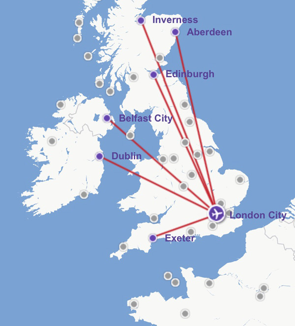 Flybe LCY 7.2014 Route Map