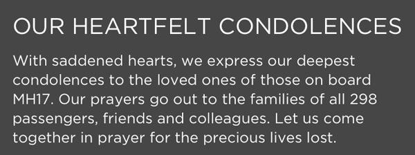 Malaysia MH 17 Heartfelt Message