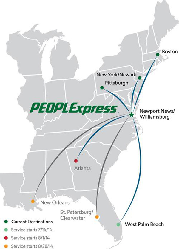PEOPLExpress (Vision Airlines) 6.2014 Route Map