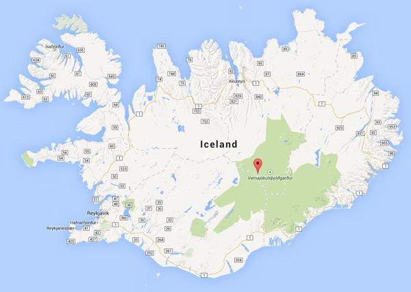 Bárðarbunga volcano map