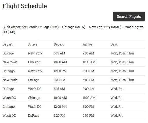 Biz Charters 8.2014 Schedule