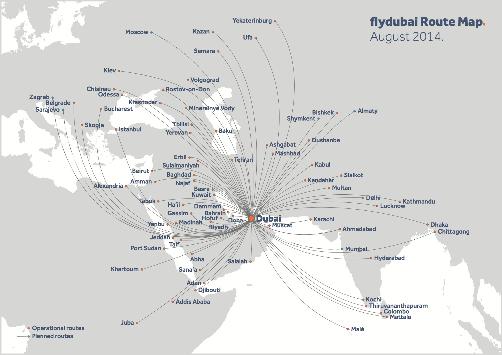 Flydubai adds three more routes reaches 80 destinations world expanded route map flydubai 82014 route map publicscrutiny Choice Image