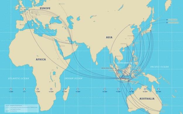 Garuda Indonesia 8.2014 International Route Map
