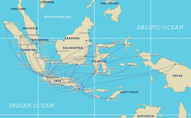 Garuda Indonesia 8.2014 Route Map