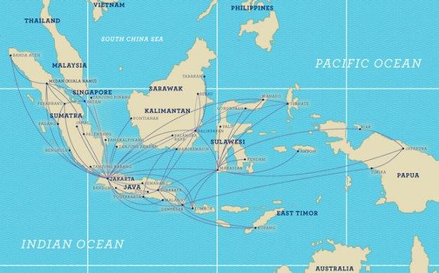 Garuda Indonesia 8.2014 Route Map