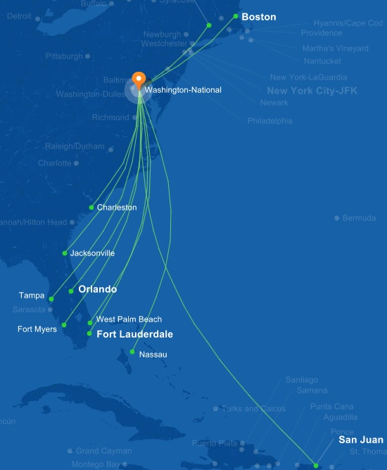 JetBlue 9.2014 DCA Route Map